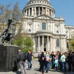St. Paul's Cathedral and a statue of firewatchers from WWII.