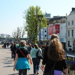 Walking to The Globe theatre.