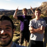 Ben, Micah, and Seth and Jacob after they conquered the cliff behind Pastor Smiley's house.