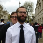 Brett and Austin wait in their Sunday best to attend the Sung Eucharist at Westminster Abbey.