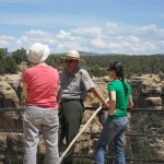 Our leaders converse. From left, Jan Shetler, GC professor of history, Ranger Clyde Benally, a National Park Ranger at Mesa Verde, and Beth Stone, an archaeologist and our educator from Crow Canyon