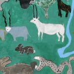 Mural showing wildlife and cattle coexisting