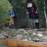 Daniel Graber reaches the end of a portage trail on our way out of the Boundary Waters.