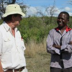Jackie talking with Duncan Kimuyu, assistant instructor
