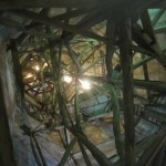 Looking up into the spire from inside