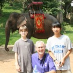 Simon, Keith, and Mia at Wat Phnom
