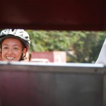 Kelly through the tuk-tuk opening