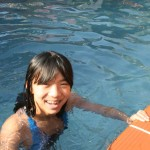 Mia at pool in Siem Reap