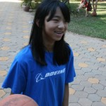 Mia with basketball