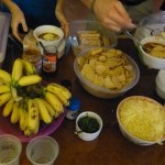 Dinner included Ann's homemade chili soup (including a vegetarian version), hard-to-find tortilla chips, salsa, cheddar cheese (rare in Cambodia), bananas, crackers, and ice cream.