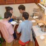 Lauren, Henry, Nate, and Jacob M quickly volunteered for dishwashing duty.