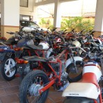 New motos from one of the neighborhood businesses were temporarily stored on the ground floor of our apartment building.