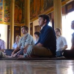 The group meditates at Wat Langka.
