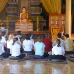 The group's meditation took place in the main pagoda, just in front of the shrine to Buddha.