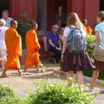 Kate and Jessie with boy monks at the National Museum.