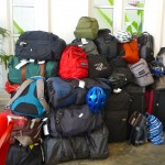 The collective luggage of 19 SSTers makes an impressive heap in the lobby of the Frangipani hotel.