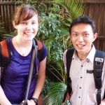 Sarah K with her host brother, Panha, who speaks perfect English but has rigorously been teaching her Khmer in the last 24 hours.