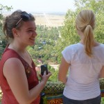 Sarah T and Audrey look at the spectacular view from Nokor Phnom.