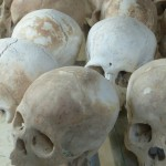 Skulls in the stupa at Choeng Ek.