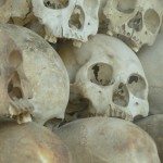 Some of the 8,000 skulls in the memorial stupa at Tuol Sleng.
