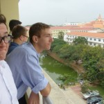 Some of the SST men enjoy looking at the view from Building T's fourth floor over break time.
