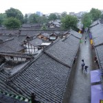 View from the old city watch tower over the narrow streets and courtyards of old Langzhong.