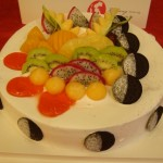 One of the decorated cakes. Cakes here are often topped with fruit