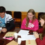 One of the teaching groups planning lessons for the coming weeks in Langzhong.