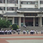 A view of the middle school campus in Langzhong.