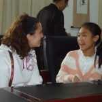 Meeting a host sister at Yilong's Virtue Middle School.