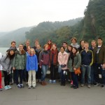 At Dujiangyan, on Tuesday. (Two SSTers with colds that day stayed back from the hike and are not in this photo.)