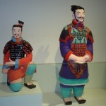 Examples of what the terracotta warriors would have originally looked like, in full color paint. Researchers have used surviving paint flakes and records of what color compounds were available at the time to suggest the figures' original appearances.