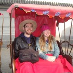 On a rickshaw tour of Beijing.
