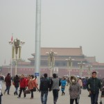 In Tiananmen Square, on a smoggy November morning.