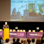 Goshen College President Brenneman welcomes new students to campus for the 2012-13 school year
