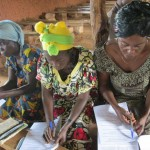 Church members of the Conference of the Mennonite Brethren Churches of Congo fill out the GAP survey. Photo provided by Damien Pelende.