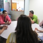 Coordinator talking to Latino SST group