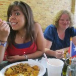 Ivette and Kellyn enjoying their food.