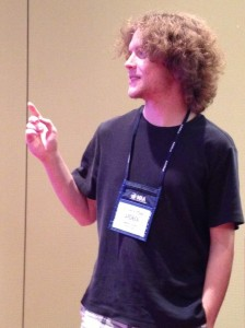 Andy Clemens presenting his work at MathFest.