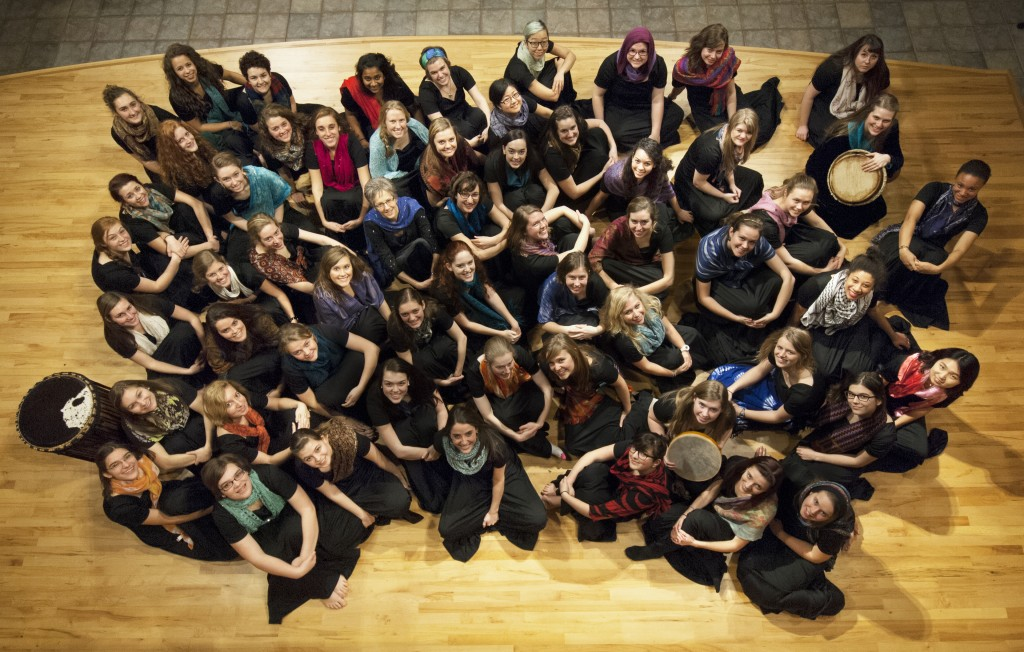 The Goshen College Women's World Music Choir recently celebrated their 10-year anniversary with a February concert and a spring break tour in Pennsylvania. They have recorded and will release a CD in summer 2014. (Photo by Brian Yoder Schlabach)