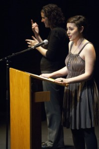 Lauren Trieber, a peace, justice and conflict studies major from Grand Rapids, Mich., speaks during the 2012 C. Henry Smith Peace Oratorical Contest.