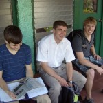 Daniel, Phil, and Austin waiting for class to start