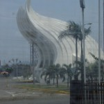 Interesting structure near the Plaza of the Revolution and Lake Managua.