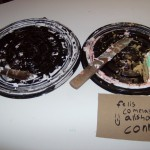 What remained of the birthday cakes, along with Conrad's greeting.