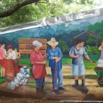 Part of the story of this land, as part of a mural painted onto the cooperative's building.