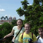 Ana, Isaac, and Joel with León's cathedral in background
