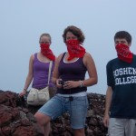 On the lip of Volcán Masaya (protecting our lungs)