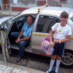 Our trusty taxi driver Don José, bringing Geneviéve home from school