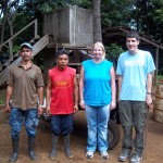 Don Chico (the farm overseer), co-worker Miguel, Katie and Austin