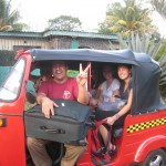 Arielle and Breanna with three host sibilings and ALL their luggage in a moto-taxi